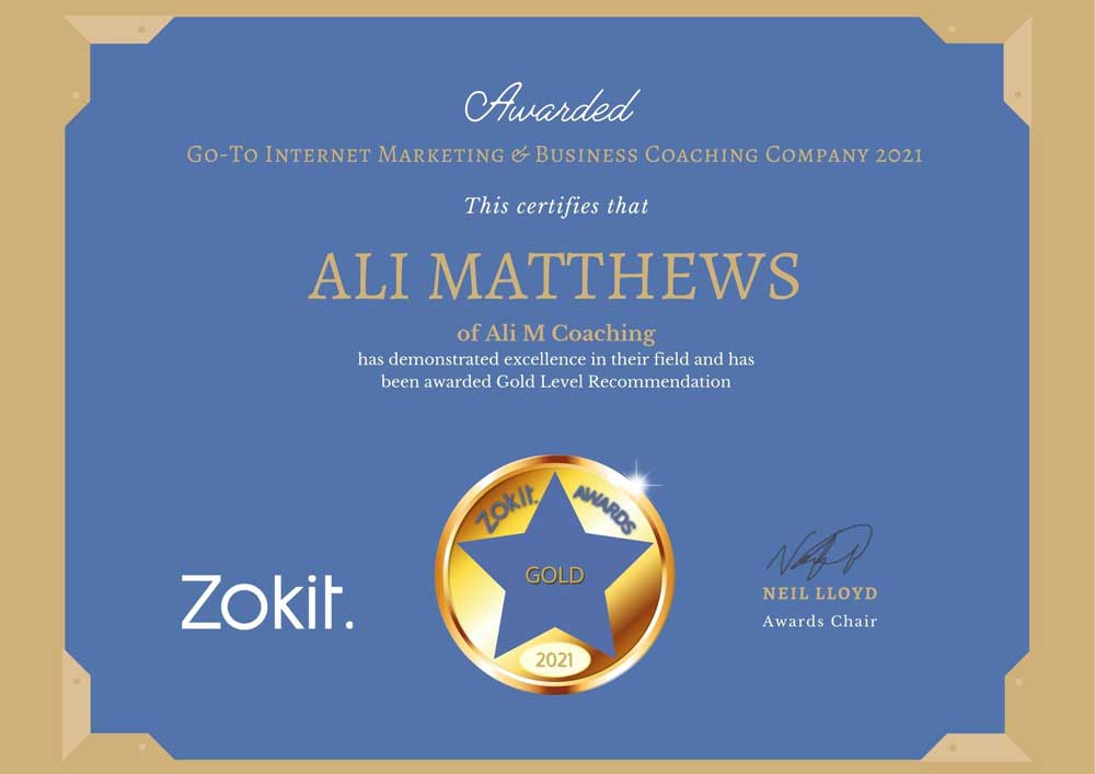 Ali M Coaching Zokit Gold Award Winner
